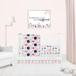 Navy and Coral Floral Baby Girl Nursery Collection